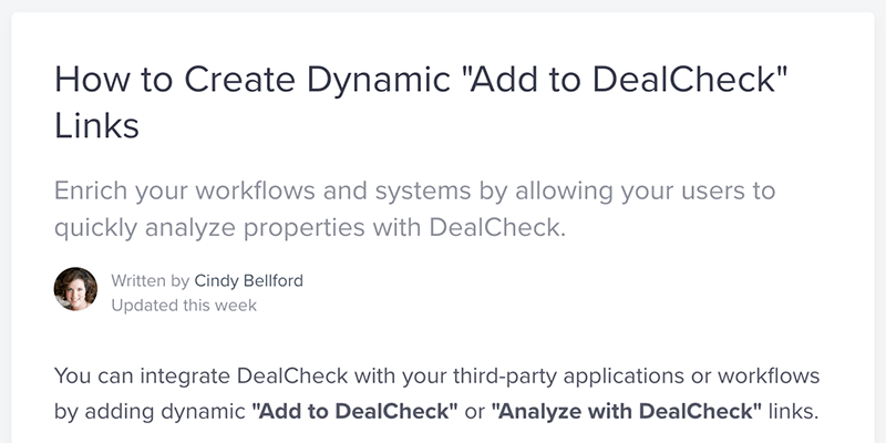 """Create dynamic """"Add to DealCheck"""" links"""