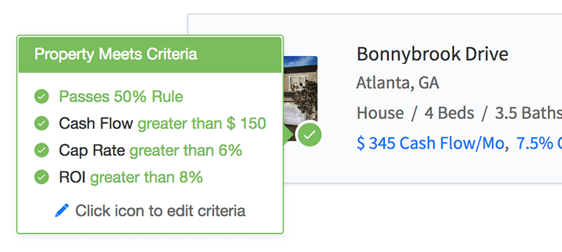 Hover over criteria check icons to view the breakdown