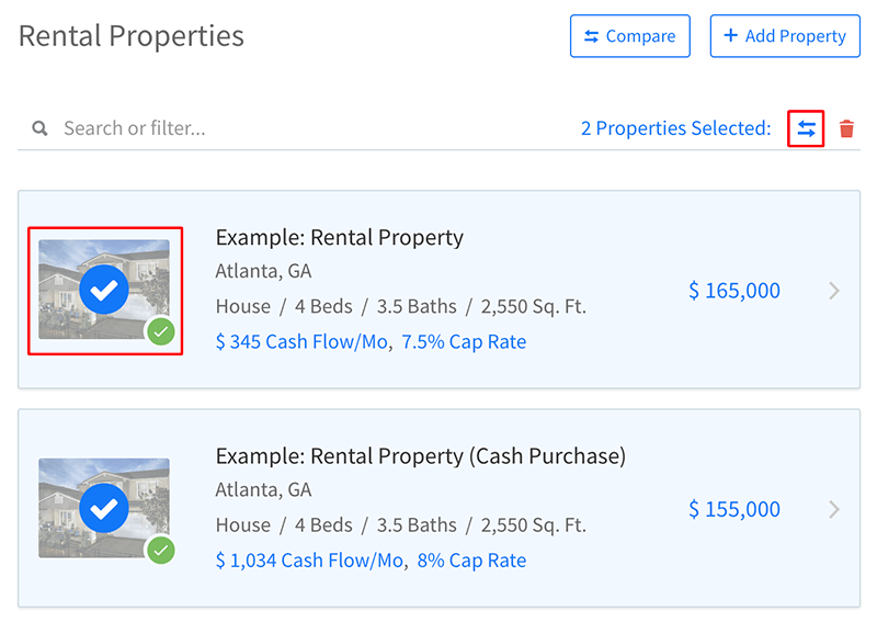 Start comparing properties by selecting them from your list