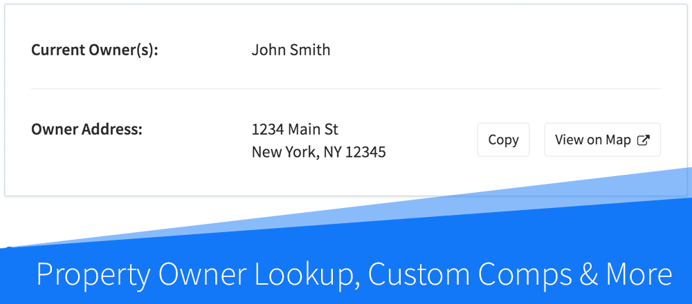 New Features: Property Owner Lookup, Custom Comps & More