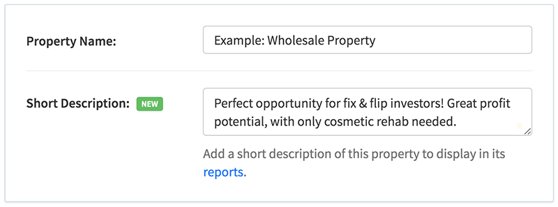 Add short descriptions and taglines to your properties