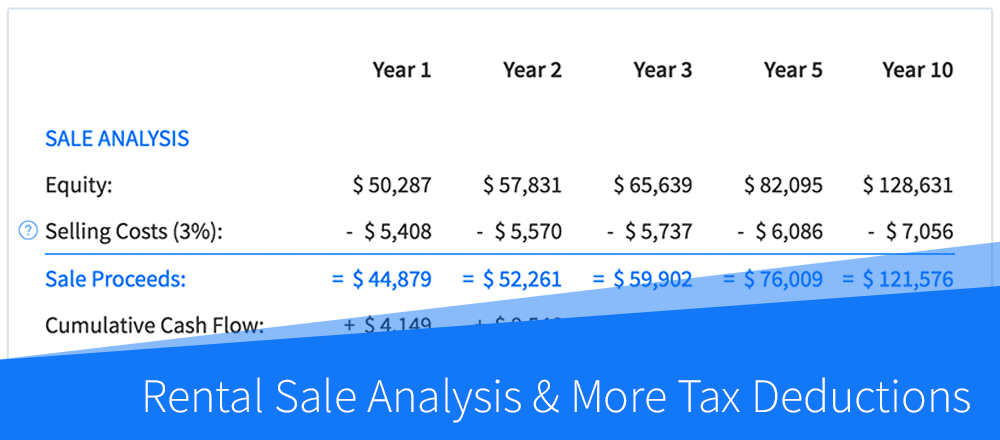 New Features: Rental Sale Analysis & More Tax Deductions