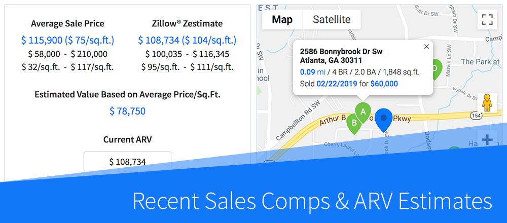 New Feature: Recent Sales Comps & ARV Estimates