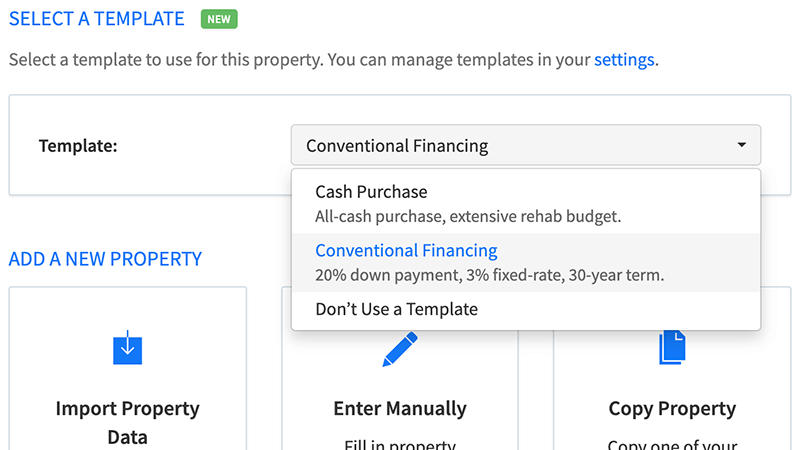Select a template when adding new properties to DealCheck